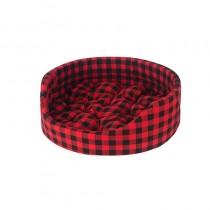 Chaba Legowisko Owalne Standard z poduszką czerwona krata