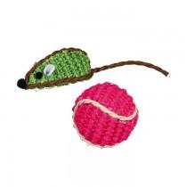 Trixie Myszka i piłka z sizalu 8cm